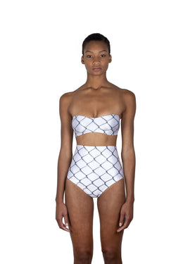 Chain print white bikini, high-waist bottoms and strapless top