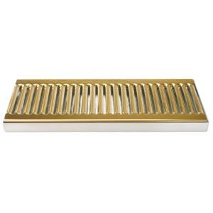 "12"" SS/PVD Brass Surface Mount Drain Tray, w/ Drain Nipple"