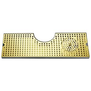 "34"" SS Tray with PVD Grid Surface Mount w/Glass Rinser"