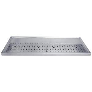 "59"" Stainless Steel Glass Rinser Drain Tray, 12-14 Faucets"