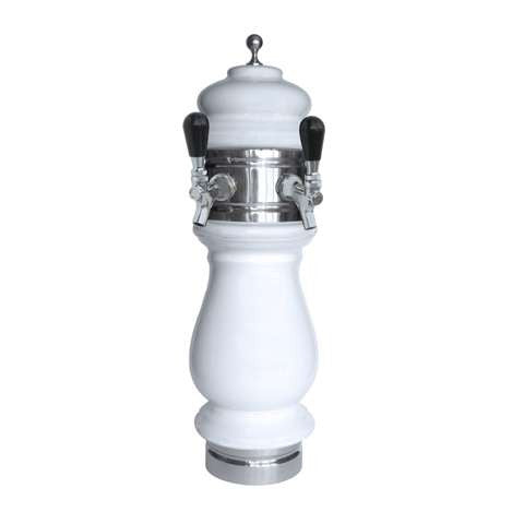 Image of Ceramic Draft Beer Tower SILVA 2 Tap - Glycol Cooled