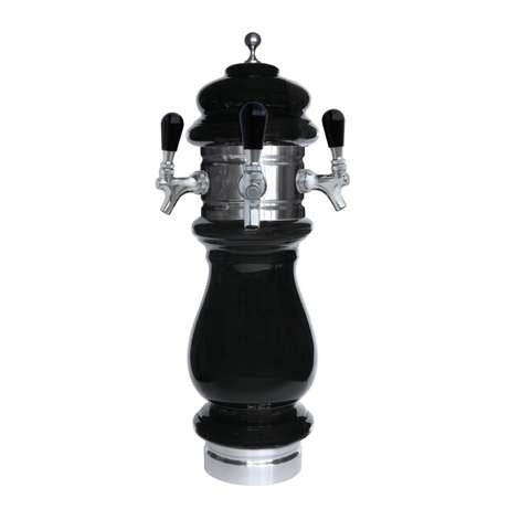 Image of Ceramic Draft Beer Tower SILVA 3 Tap - Air Cooled