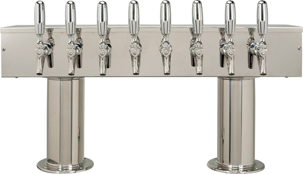 Double Pedestal - 8 304 Faucets - Polished Stainless Steel - Glycol Cooled