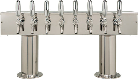 Image of Double Pedestal - 8 304 Faucets - Polished Stainless Steel - Glycol Cooled
