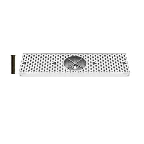 Drip Tray 24 Inch Surface Mount, Counter Top, Stainless Steel With Rinser