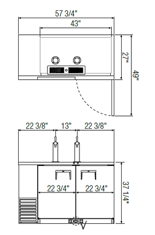 Everest EBD2 direct draw beer dispenser manual measurements