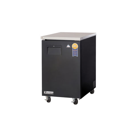Everest EBB23 back bar cooler, swing solid, single door, black, laminated and textured finish, front left view