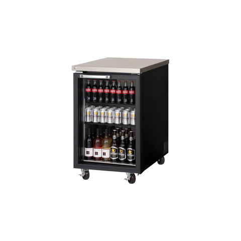 Everest EBB23G back bar cooler, glass door, black, laminated and textured finish, front left view