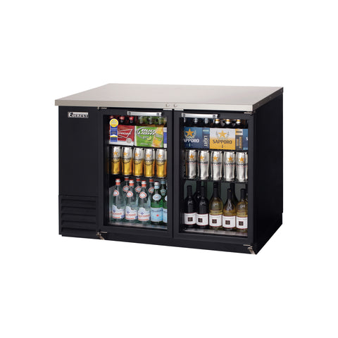 Everest EBB48G-24 back bar cooler, glass doors, black, laminated and textured finish, front left view
