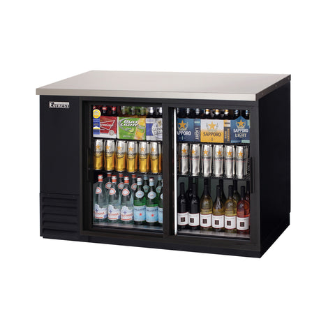Everest EBB48G-SD back bar cooler, sliding glass doors, black, laminated and textured finish, front left view