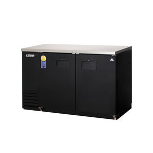 Everest EBB59-24 back bar cooler, swing solid, two doors, black, laminated and textured finish, front left view
