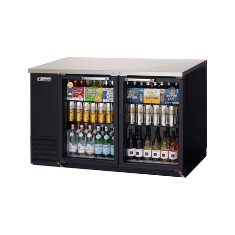 Everest EBB59G back bar cooler, glass doors, black, laminated and textured finish, front left view