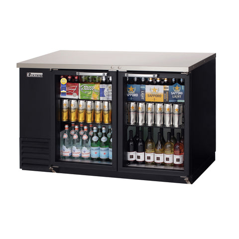 Everest EBB59G-24 back bar cooler, glass doors, black, laminated and textured finish, front left view