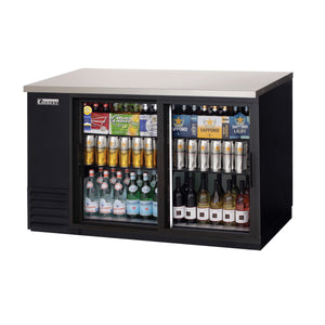 Everest EBB59G-SD back bar cooler, sliding glass doors, black, laminated and textured finish, front left view