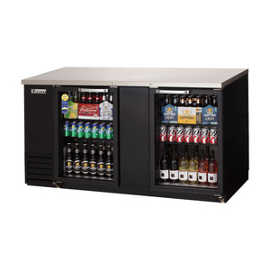 Everest EBB69G back bar cooler, glass doors, black, laminated and textured finish, front left view