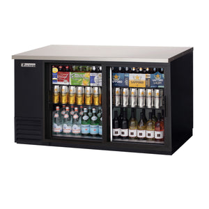 Everest EBB69G-SD back bar cooler, sliding glass doors, black, laminated and textured finish, front left view