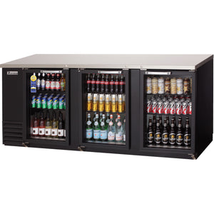 Everest EBB90G back bar cooler, glass doors, black, laminated and textured finish, front left view