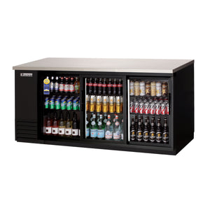Everest EBB90G-SD back bar cooler, sliding glass doors, black, laminated and textured finish, front left view