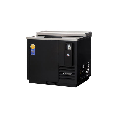 Everest EBC37 horizontal bottle cooler, solid slide lid, black, laminated and textured finish, front left view