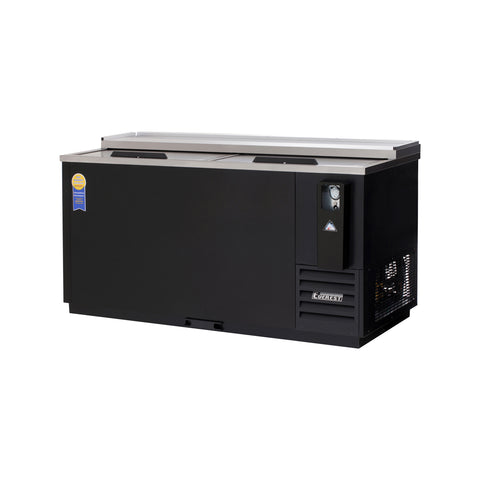 Everest EBC65 horizontal bottle cooler, solid slide lid, black, laminated and textured finish, front left view