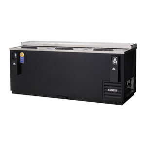 Everest EBC80 horizontal bottle cooler, solid slide lid, black, laminated and textured finish, front left view