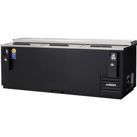 Everest EBC95 horizontal bottle cooler, solid slide lid, black, laminated and textured finish, front left view