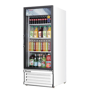Everest EMGR10 commercial display refrigerator, swing glass door, white-coated stainless steel, front left view