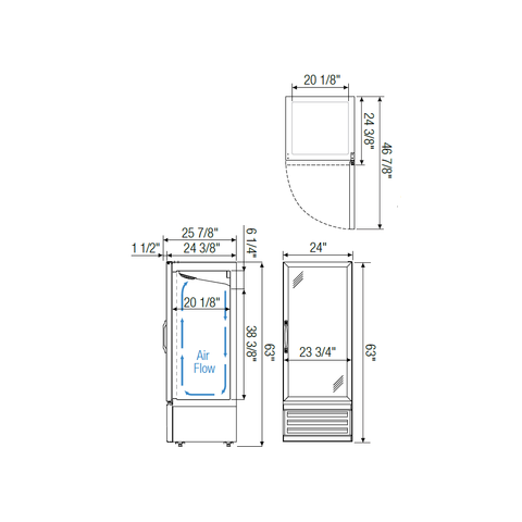 Image of Everest EMGR10 commercial display refrigerator, swing glass, manual measurements