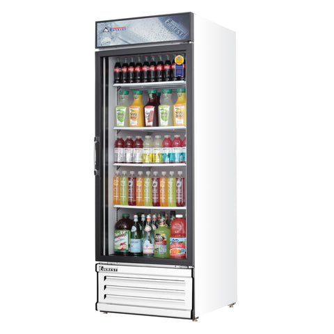 Everest EMGR24 commercial display refrigerator, swing glass door, white-coated stainless steel, front left view