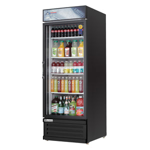 Everest EMGR24B commercial display refrigerator, swing glass door, black-coated stainless steel, front left view