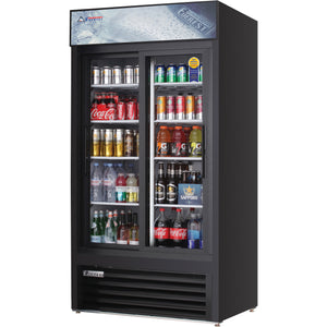 Everest EMGR33B commercial display refrigerator, sliding glass doors, black-coated stainless steel, front left view