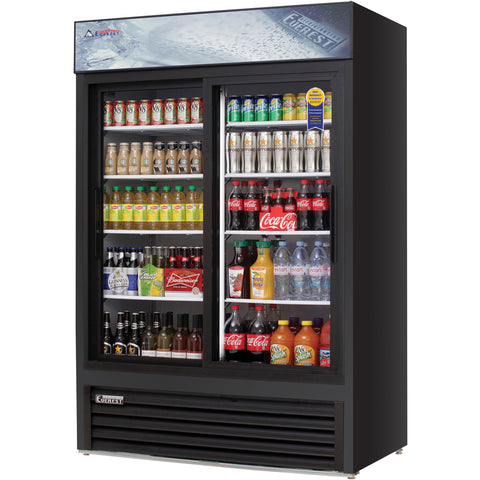 Everest EMGR48B commercial display refrigerator, sliding glass doors, black-coated stainless steel, front left view