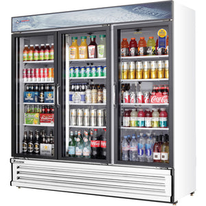 Everest EMGR69 commercial display refrigerator, sliding glass doors, white-coated stainless steel, front left view