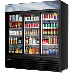 Everest EMGR69B commercial display refrigerator, sliding glass doors, black-coated stainless steel, front left view