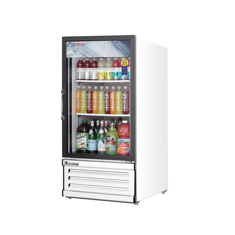 Everest EMGR8 commercial display refrigerator, swing glass door, white-coated stainless steel, front left view
