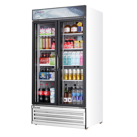Everest EMSGR33 commercial display refrigerator, multiple swing glass doors, white-coated stainless steel, front left view