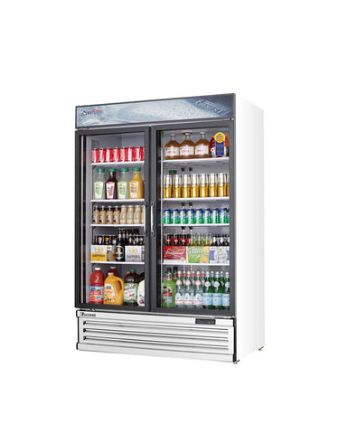 Everest EMSGR48 commercial display refrigerator, multiple swing glass doors, white-coated stainless steel, front left view