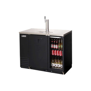 Everest EBDS2-BBG-24 direct draw beer dispenser & back bar cooler, 1 tap, solid and glass doors, laminated black vinyl, front left side