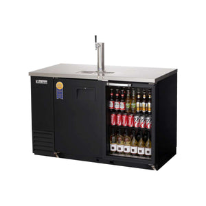 Everest EBD2-BBG-24 direct draw beer dispenser & back bar cooler, 1 tap, solid and glass doors, laminated black vinyl, front left side