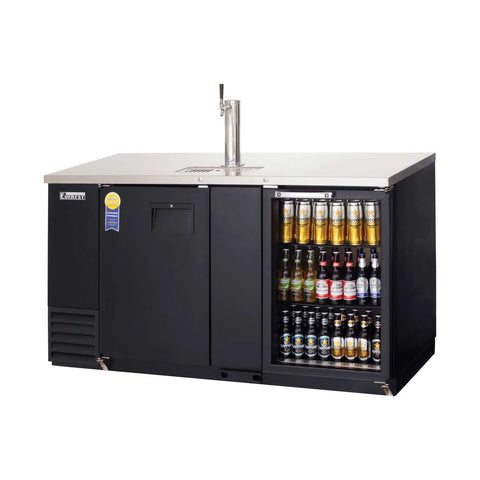 Everest EBD3-BBG-24 direct draw beer dispenser & back bar cooler, 1 tap, solid and glass doors, laminated black vinyl, front left side