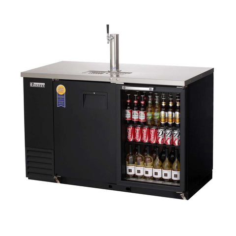 Everest EBD2-BBG direct draw beer dispenser & back bar cooler, 1 tap, solid and glass doors, laminated black vinyl, front left side