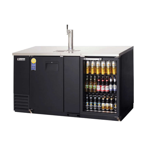 Everest EBD3-BBG direct draw beer dispenser & back bar cooler, 1 tap, solid and glass doors, laminated black vinyl, front left side