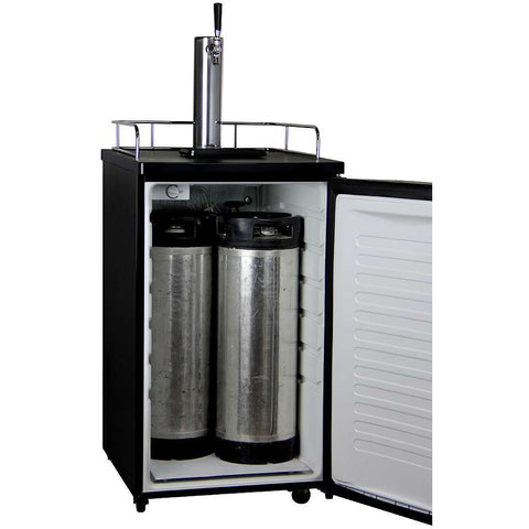 K199SS-1 Single Tap Beer Dispenser with Black Cabinets and Stainless Steel Door