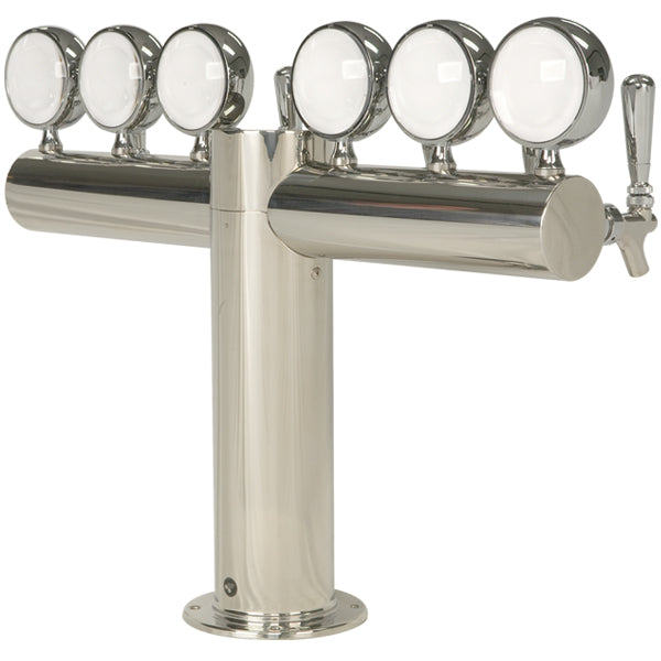 "Metropolis ""T"" - 6 Faucets w/Illuminated Medallions -Polished Stainless- Glycol Cooled"