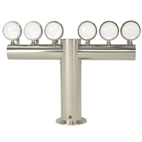"Image of Metropolis ""T"" - 6 Faucets w/Illuminated Medallions -Polished Stainless- Glycol Cooled"
