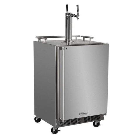 Marvel Outdoor Mobile Kegerator, Dual Tap, Stainless Steel Door