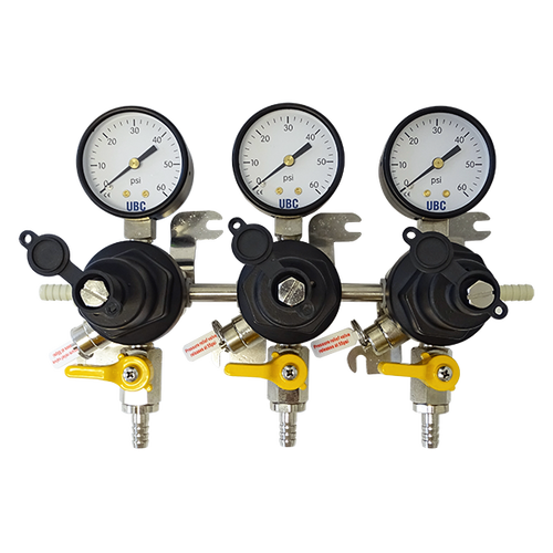 CO2 regulator, secondary, triple gauge