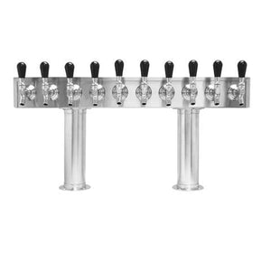 Beer Tower 10 Tap Pass-Thru, 3 Inch Pedestal, Glycol