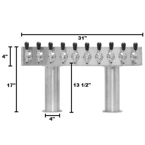 Beer Tower 10 Tap Pass-Thru, 4 Inch Pedestal, Glycol