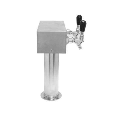 Beer Tower 2 Tap American T-Box, 3 Inch Pedestal, Glycol